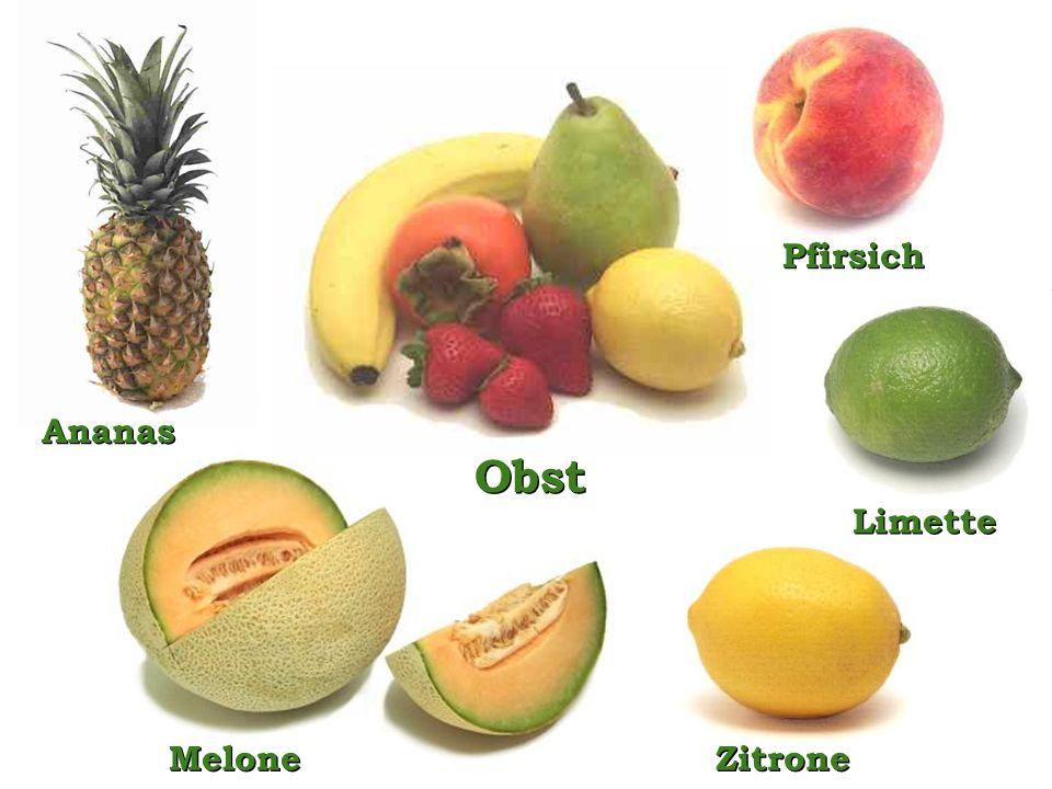 Obst Pfirsich Ananas Limette Melone Zitrone