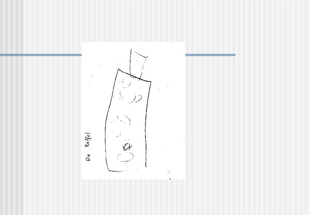 """Hier, weitere fünf Monate (mit durchgehender Therapie) später, kann der Bub bereits die Raffel (die er oft gebraucht hat) mit ihren Merkmalen zeichnen. Es handelt sich um eine """"Vierkantraffel , also ein viereckiges Ding mit einem Innenraum."""