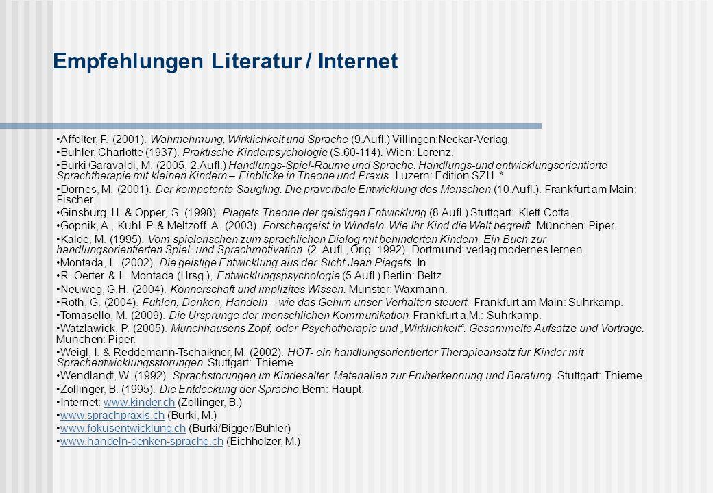 Empfehlungen Literatur / Internet