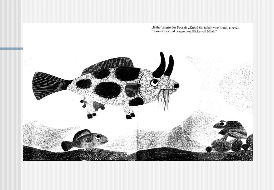"""Hier ein Beispiel für stimmige und abweichende Vorstellungen für einen Begriff: Das Bild stammt aus dem Kinderbuch """"Fisch ist Fisch und es geht um einen Frosch, der gerade die Welt entdeckt und seinem Freund, dem Fisch, davon erzählt: Er beschreibt eine Kuh – und weil der Fisch noch nie eine Kuh gesehen hat, stellt er sie sich so vor, wie ein Fisch sich eben eine Kuh vorstellt…als eine Art Fisch-Kuh."""