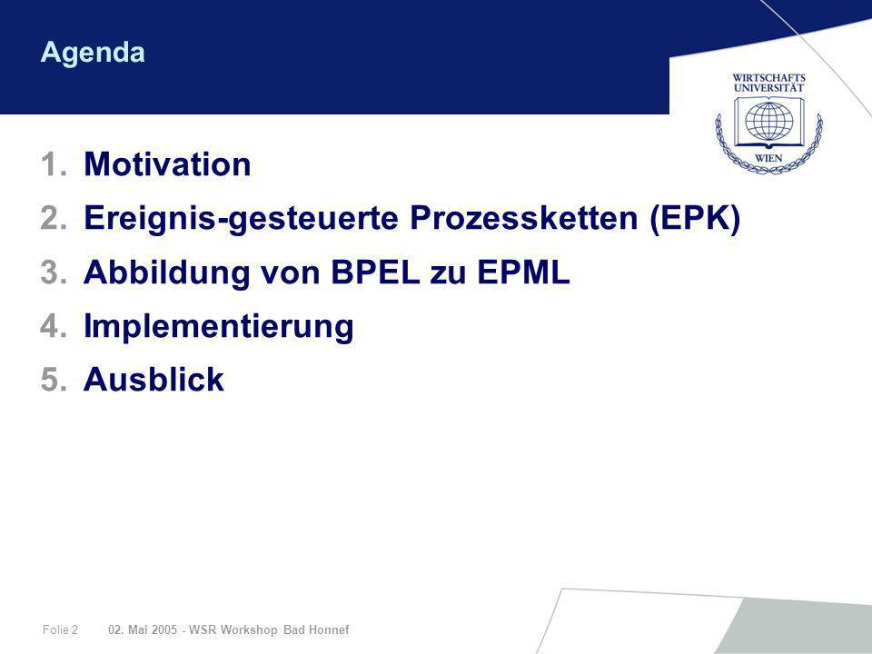 Ereignis-gesteuerte Prozessketten (EPK) Abbildung von BPEL zu EPML