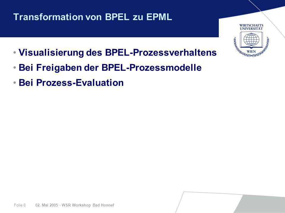 Transformation von BPEL zu EPML