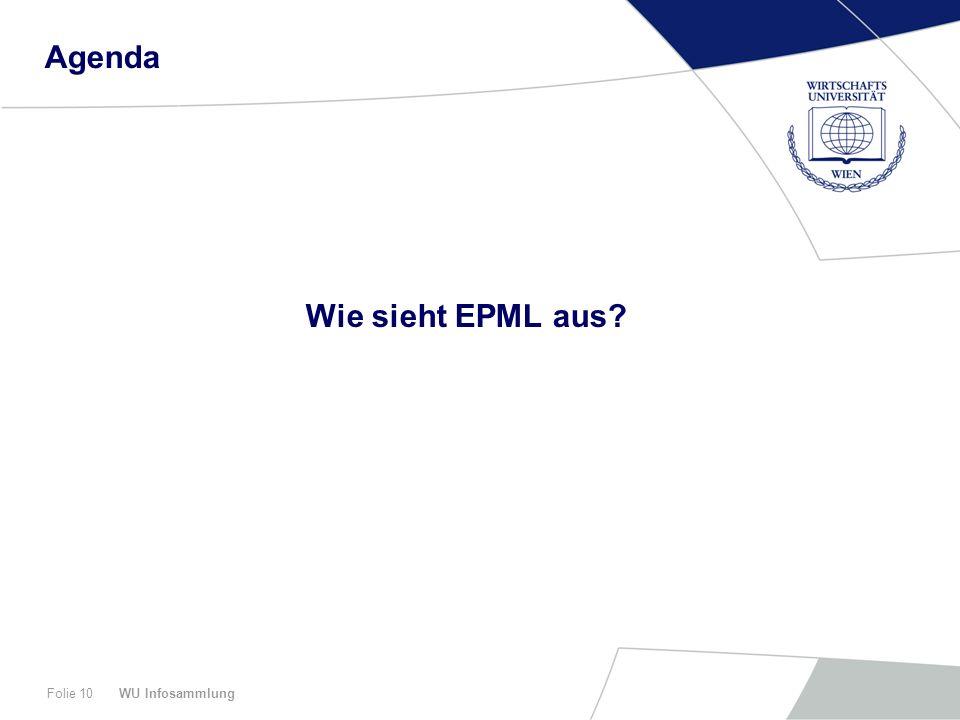 Agenda Wie sieht EPML aus WU Infosammlung