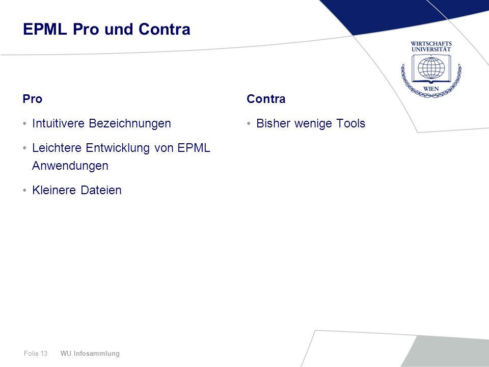EPML Pro und Contra Pro Intuitivere Bezeichnungen