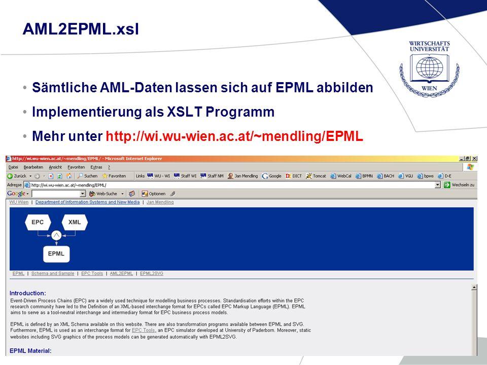 AML2EPML.xsl Sämtliche AML-Daten lassen sich auf EPML abbilden