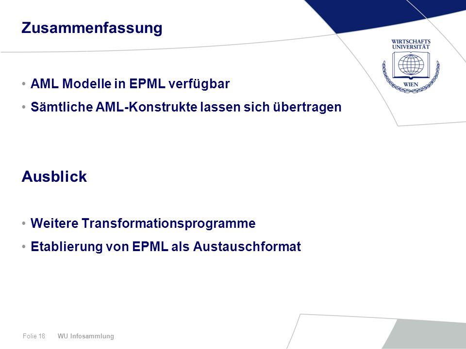 Zusammenfassung Ausblick AML Modelle in EPML verfügbar