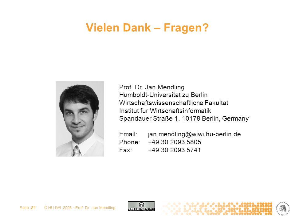 Vielen Dank – Fragen Prof. Dr. Jan Mendling