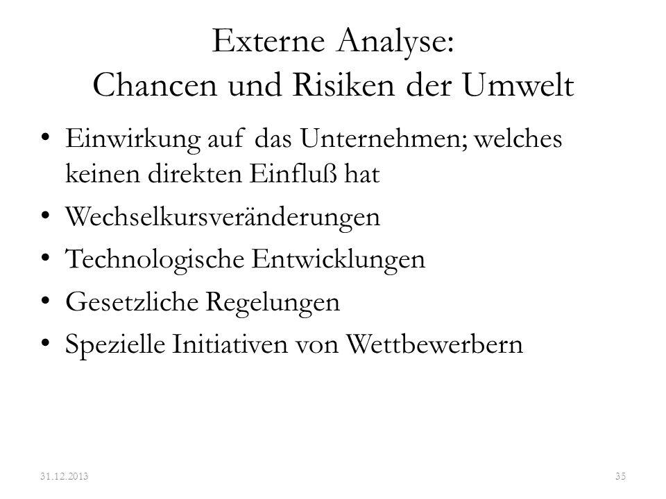 Externe Analyse: Chancen und Risiken der Umwelt