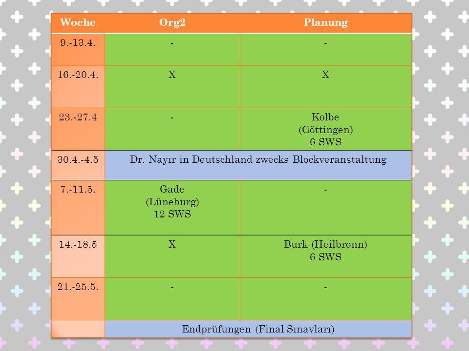 Dr. Nayır in Deutschland zwecks Blockveranstaltung 7.-11.5. Gade