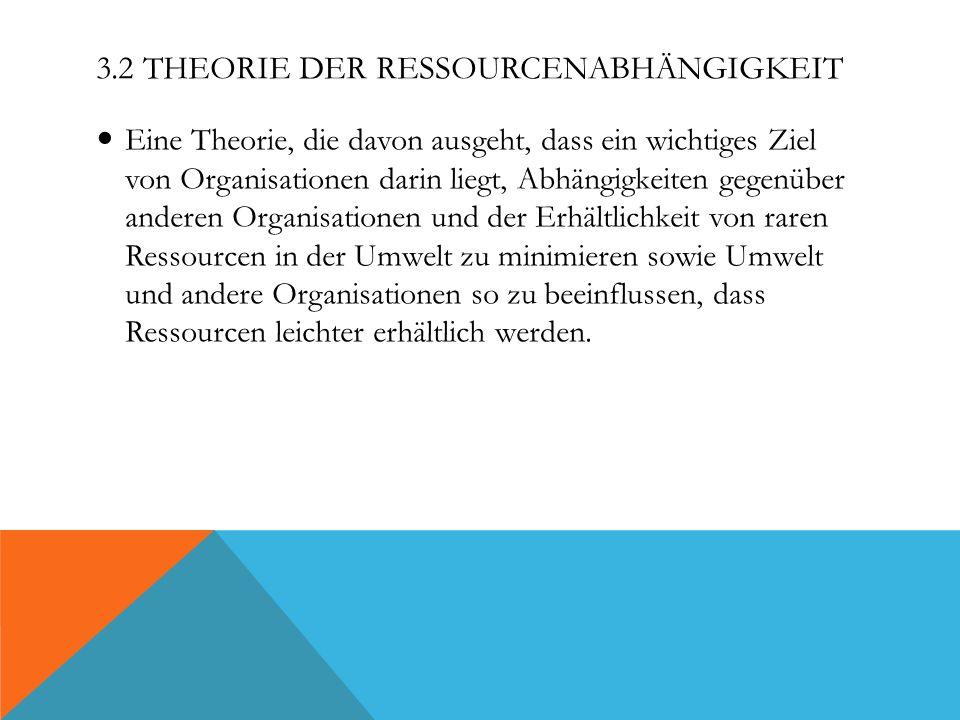 3.2 Theorie der Ressourcenabhängigkeit