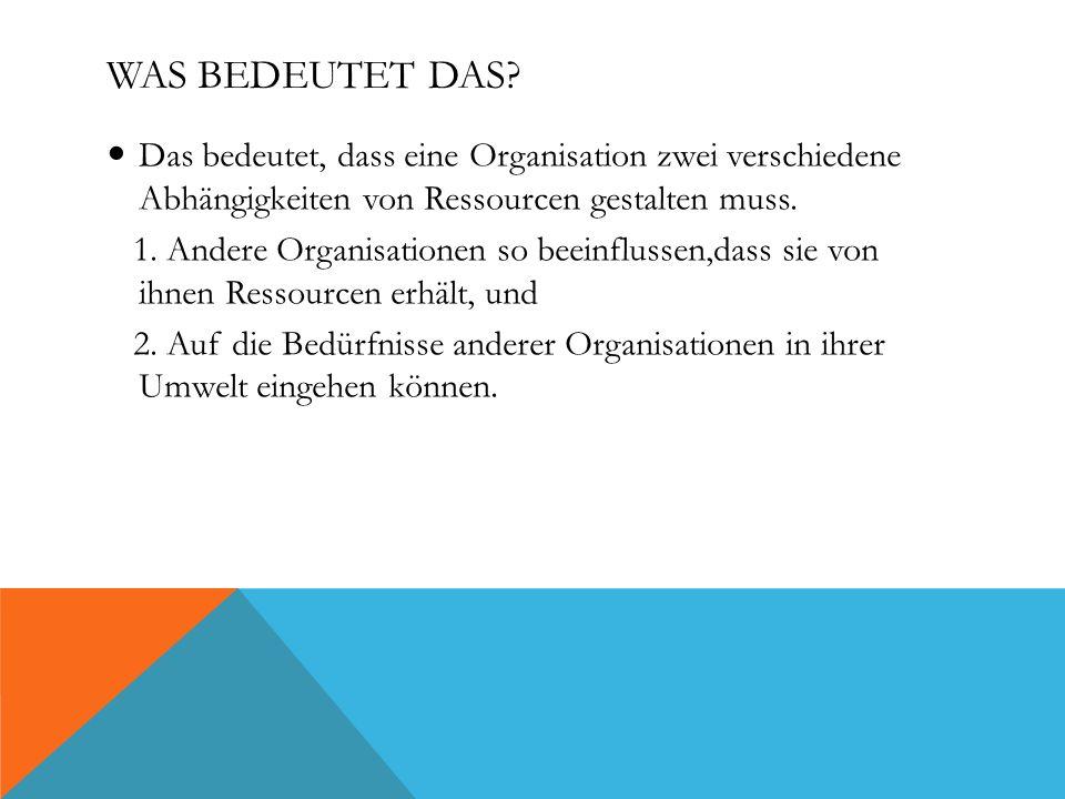 Was bedeutet das Das bedeutet, dass eine Organisation zwei verschiedene Abhängigkeiten von Ressourcen gestalten muss.