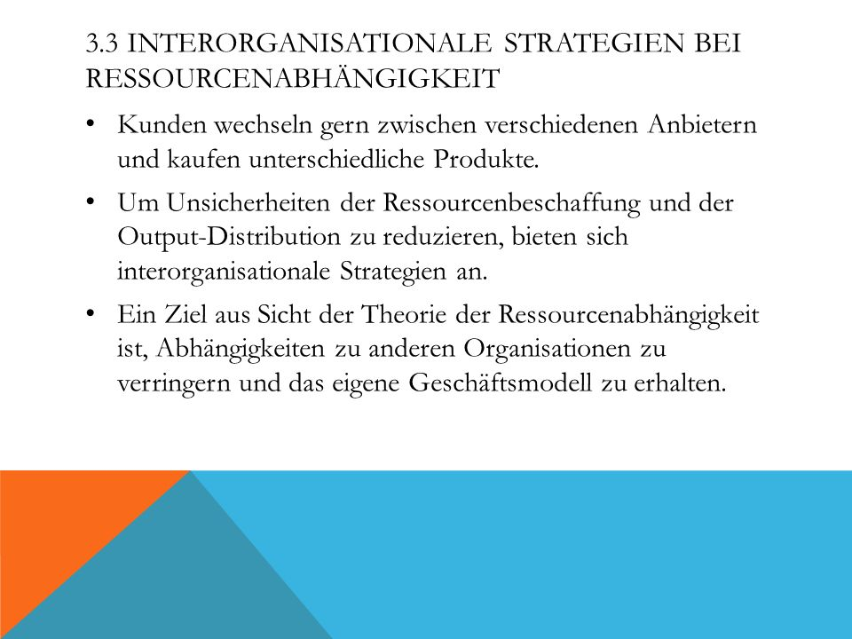3.3 Interorganisationale Strategien bei Ressourcenabhängigkeit