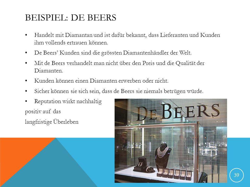 Beispiel: De BeersHandelt mit Diamantan und ist dafür bekannt, dass Lieferanten und Kunden ihm vollends ertrauen können.