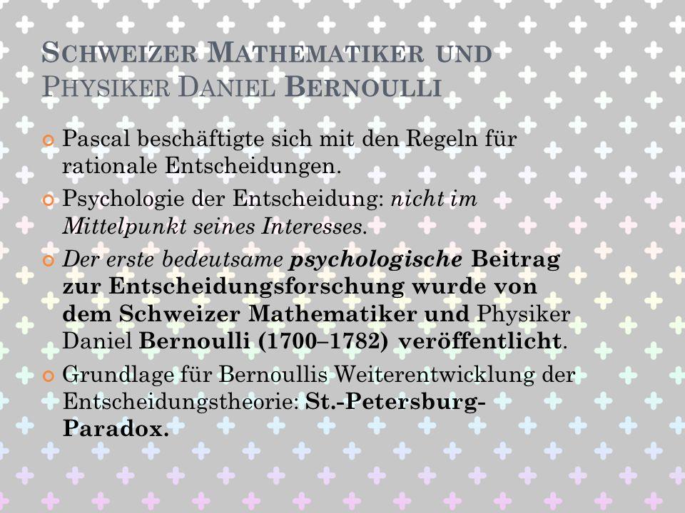 Schweizer Mathematiker und Physiker Daniel Bernoulli