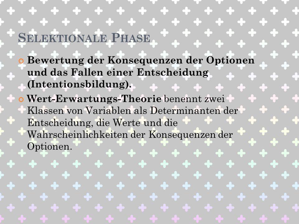 Selektionale Phase Bewertung der Konsequenzen der Optionen und das Fallen einer Entscheidung (Intentionsbildung).