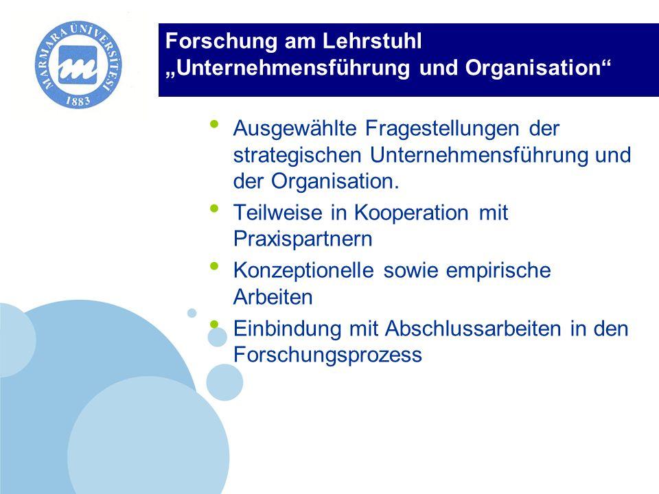 """Forschung am Lehrstuhl """"Unternehmensführung und Organisation"""