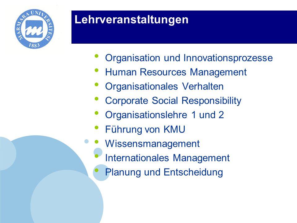 Lehrveranstaltungen Organisation und Innovationsprozesse