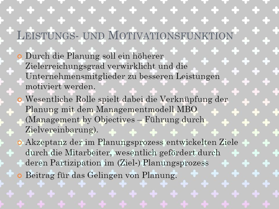 Leistungs- und Motivationsfunktion