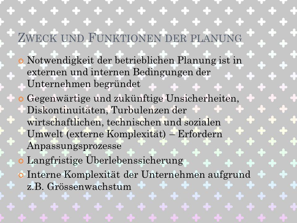 Zweck und Funktionen der planung
