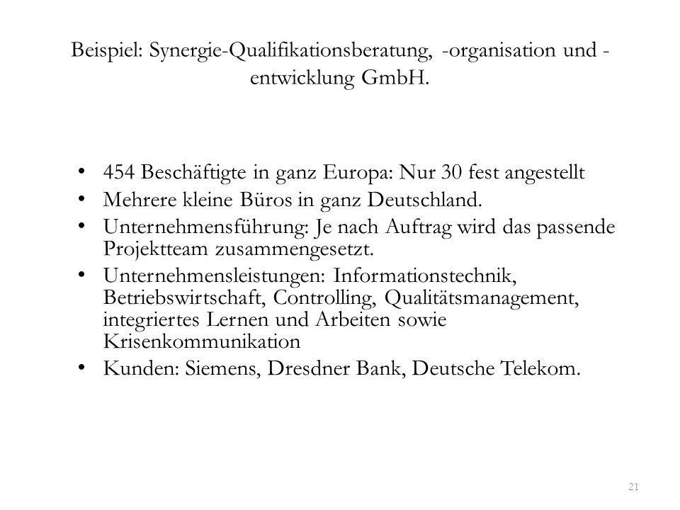 Beispiel: Synergie-Qualifikationsberatung, -organisation und -entwicklung GmbH.