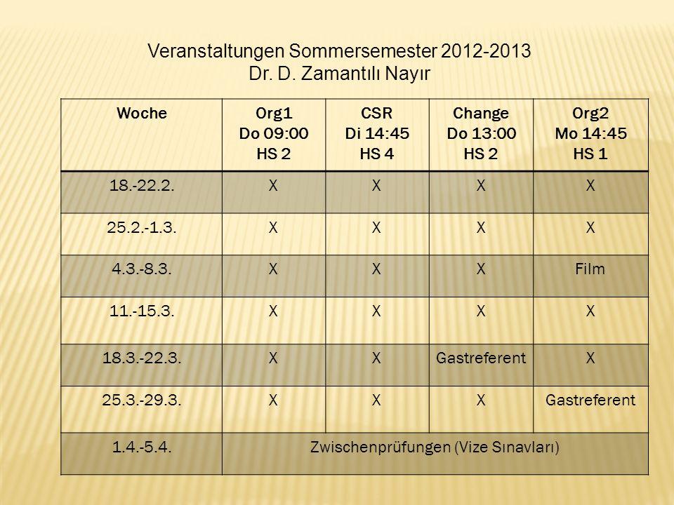 Veranstaltungen Sommersemester 2012-2013 Dr. D. Zamantılı Nayır