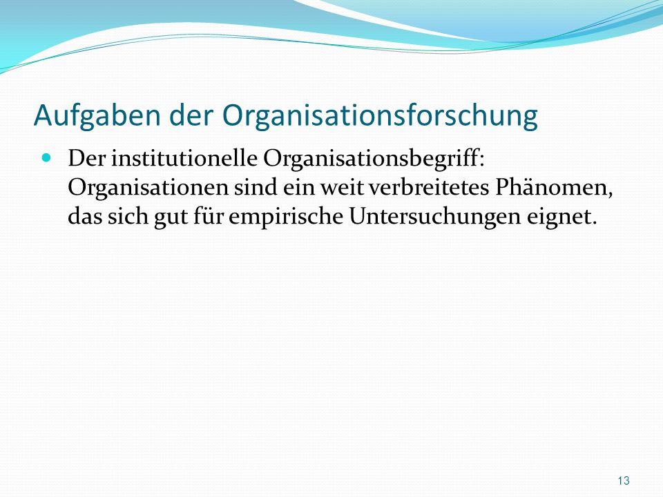 Aufgaben der Organisationsforschung