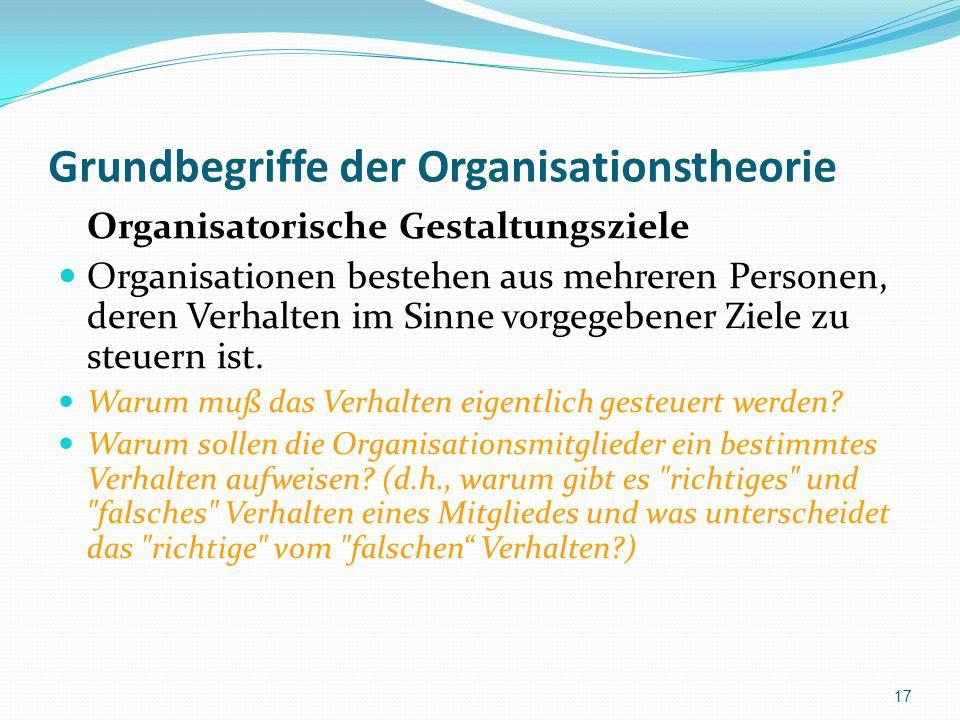 Grundbegriffe der Organisationstheorie