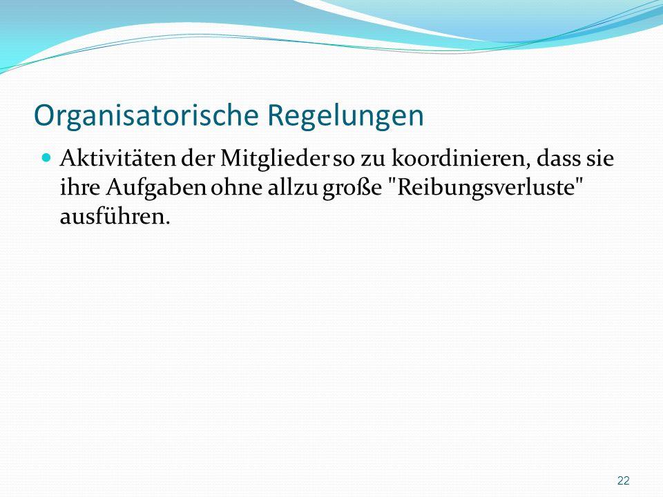 Organisatorische Regelungen