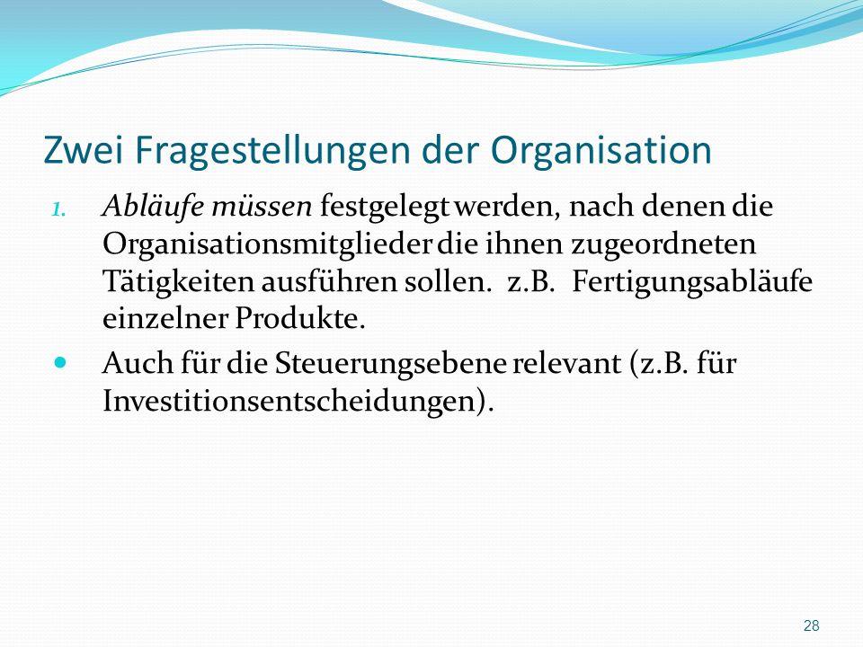 Zwei Fragestellungen der Organisation