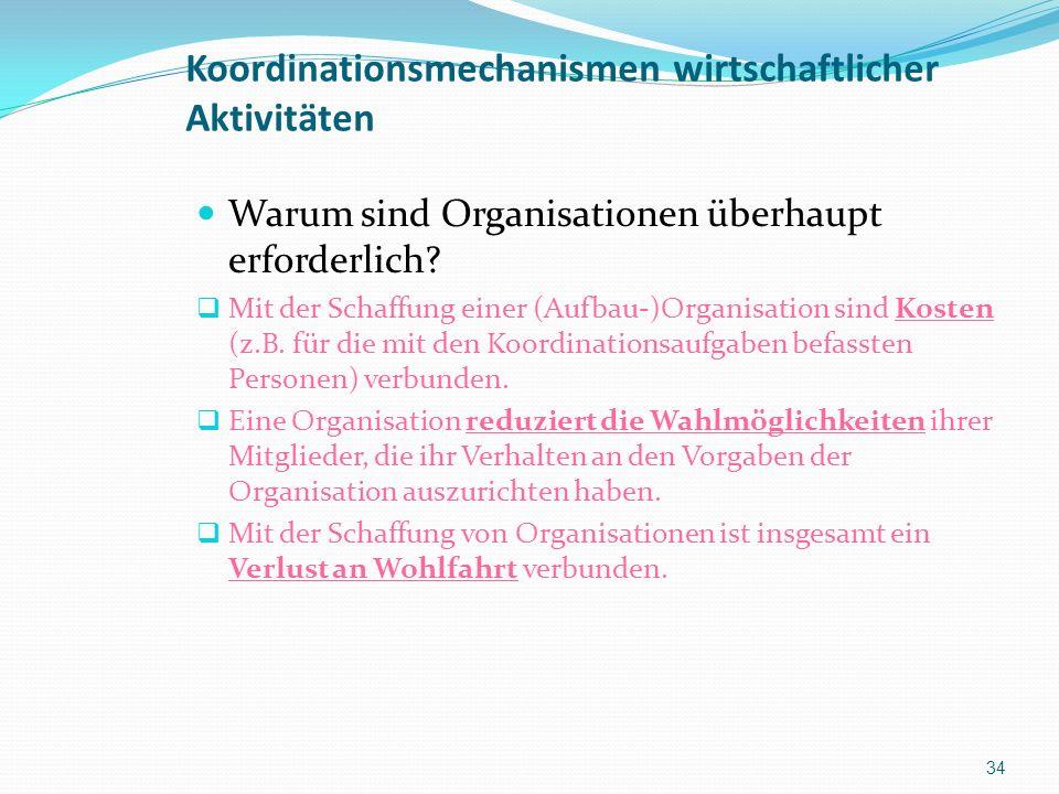 Koordinationsmechanismen wirtschaftlicher Aktivitäten