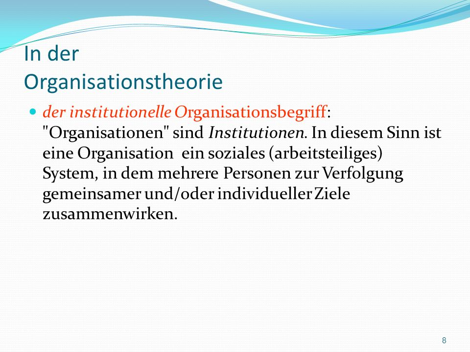In der Organisationstheorie