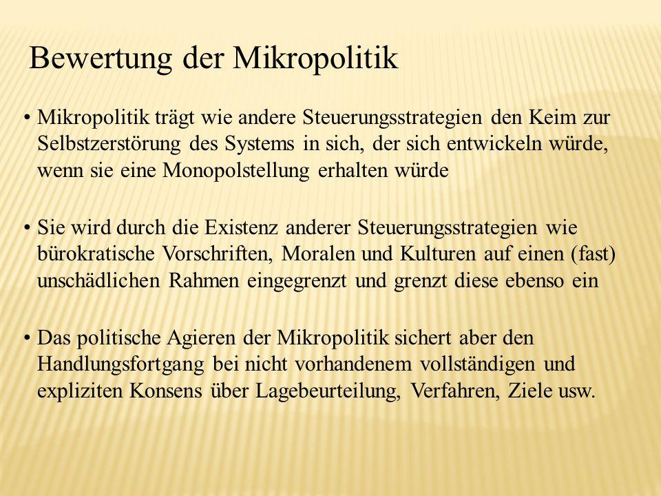 Bewertung der Mikropolitik