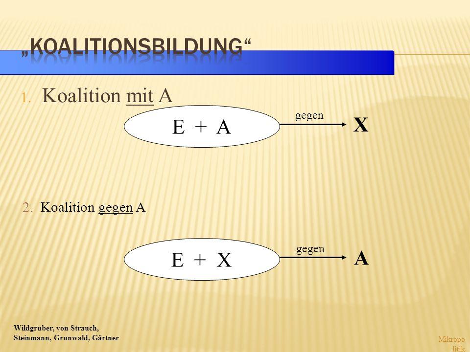 """""""Koalitionsbildung Koalition mit A E + A X E + X A"""