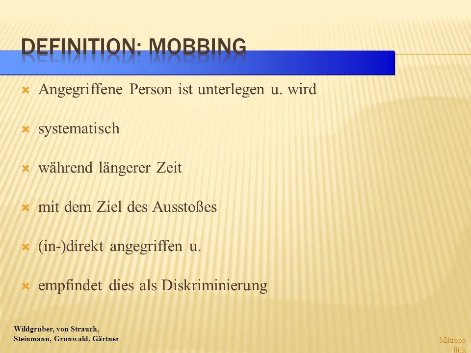 Definition: Mobbing Angegriffene Person ist unterlegen u. wird
