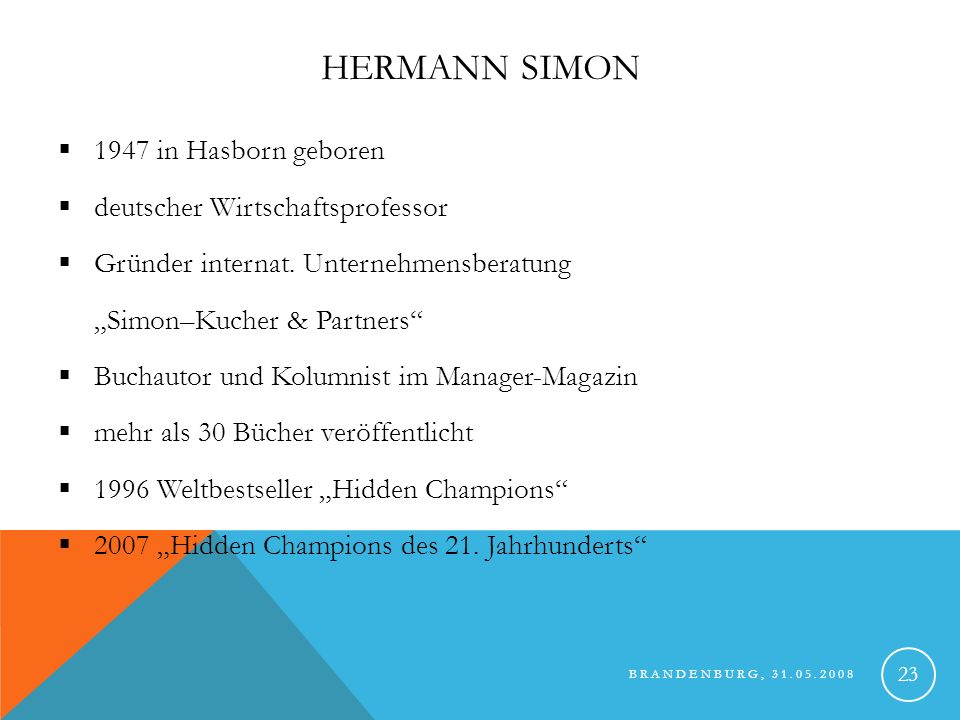 Hermann Simon 1947 in Hasborn geboren deutscher Wirtschaftsprofessor