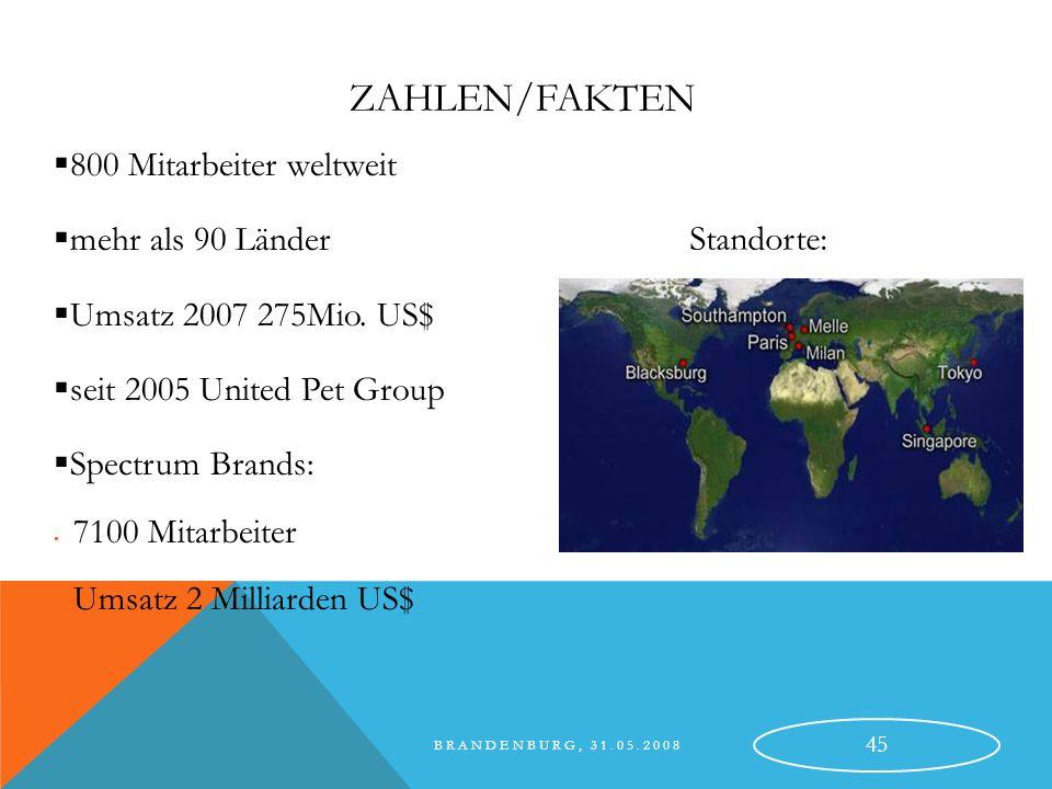 Zahlen/Fakten 800 Mitarbeiter weltweit mehr als 90 Länder