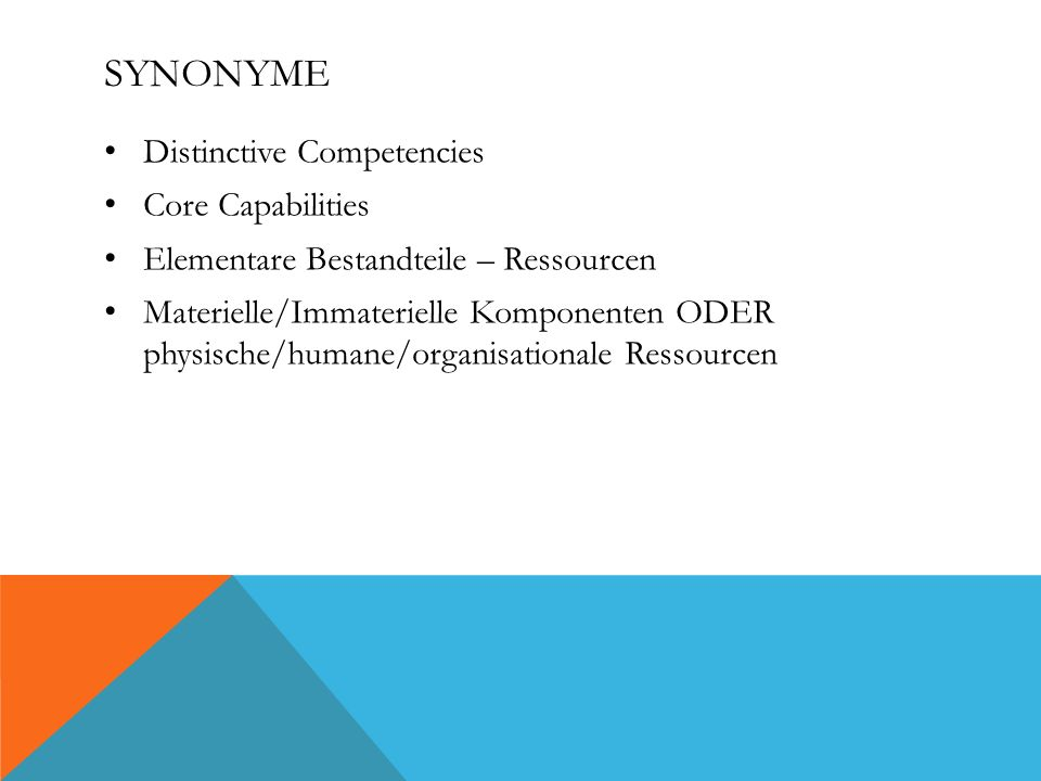 Synonyme Distinctive Competencies Core Capabilities