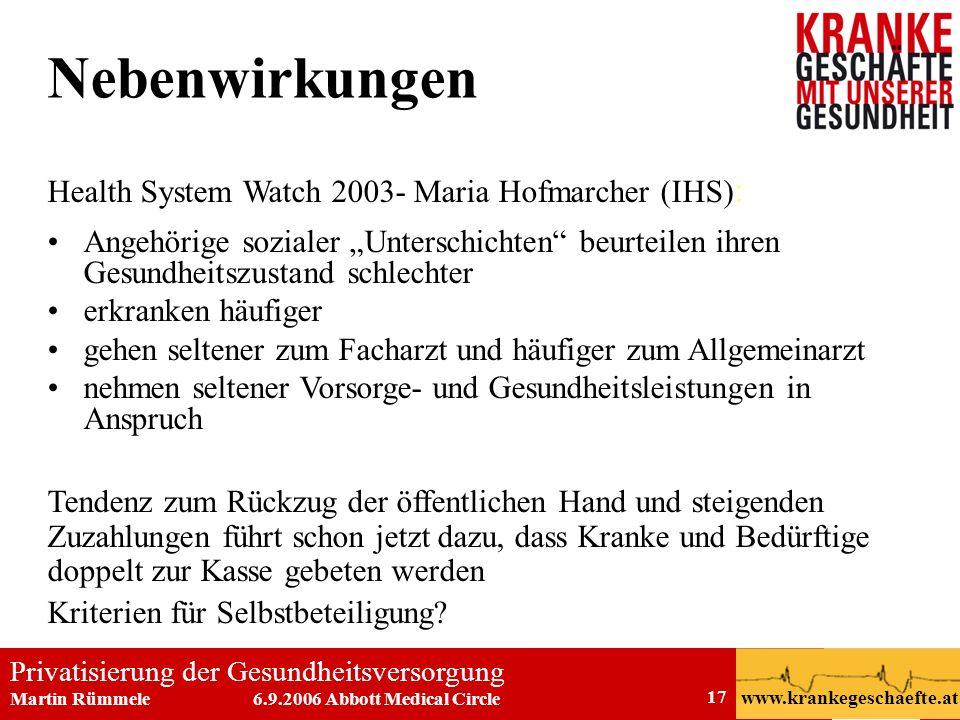 Nebenwirkungen Health System Watch 2003- Maria Hofmarcher (IHS):