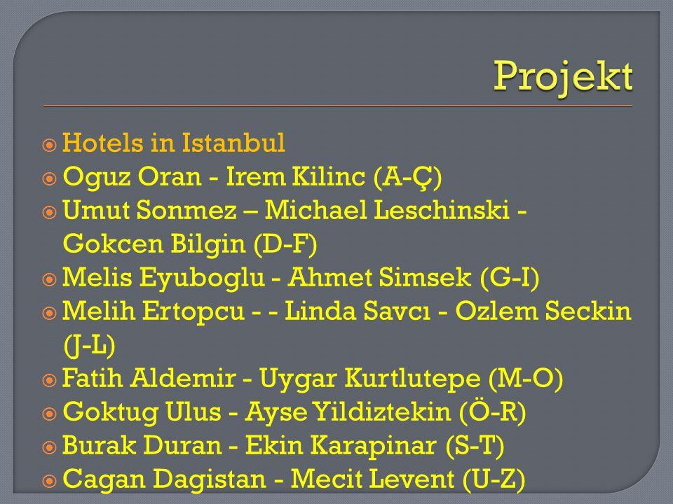 Projekt Hotels in Istanbul Oguz Oran - Irem Kilinc (A-Ç)