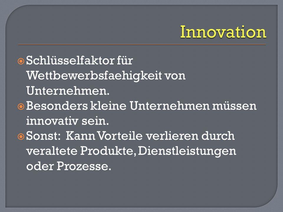 Innovation Schlüsselfaktor für Wettbewerbsfaehigkeit von Unternehmen.