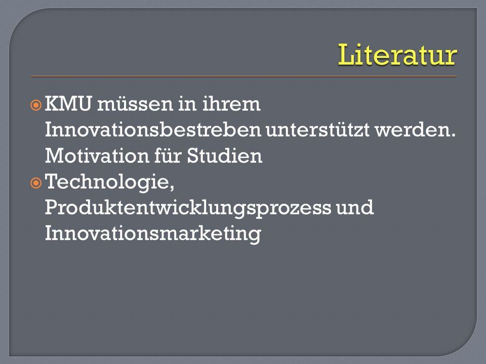 Literatur KMU müssen in ihrem Innovationsbestreben unterstützt werden. Motivation für Studien.