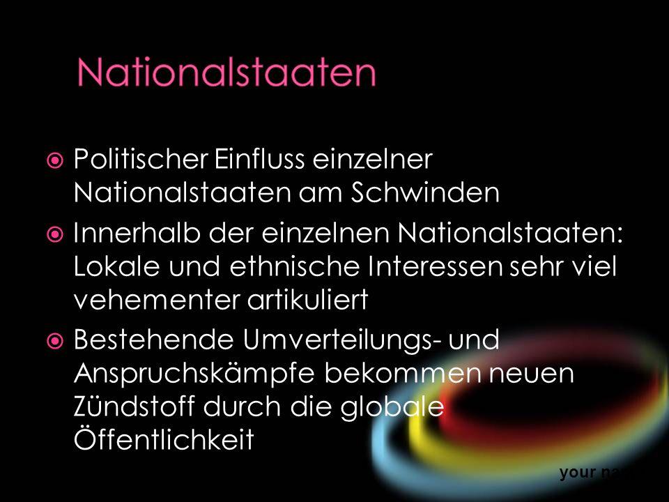 Nationalstaaten Politischer Einfluss einzelner Nationalstaaten am Schwinden.
