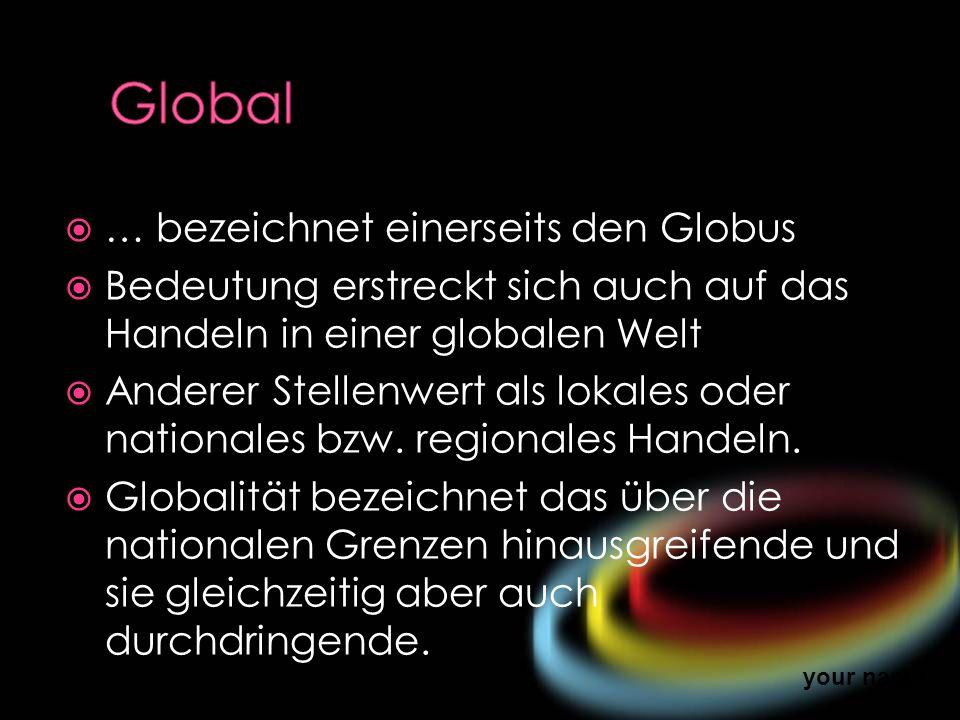 Global … bezeichnet einerseits den Globus