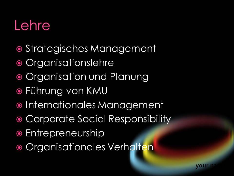 Lehre Strategisches Management Organisationslehre