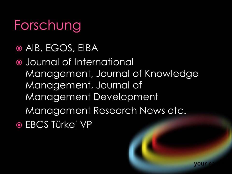 Forschung AIB, EGOS, EIBA