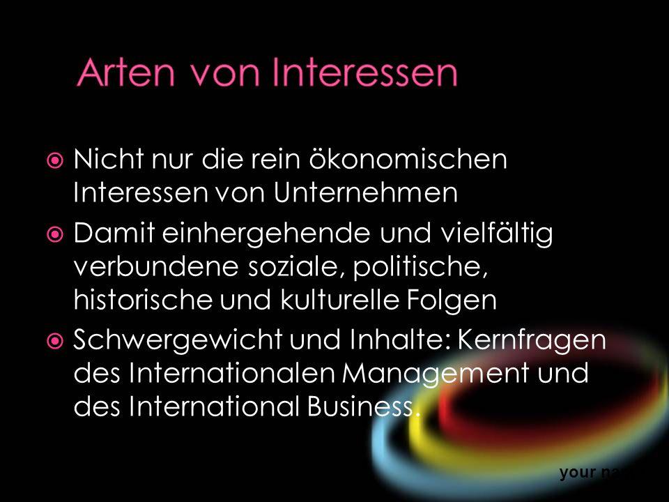 Arten von Interessen Nicht nur die rein ökonomischen Interessen von Unternehmen.