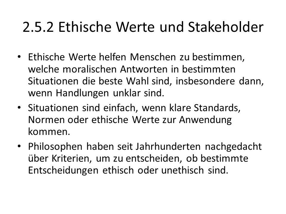 2.5.2 Ethische Werte und Stakeholder