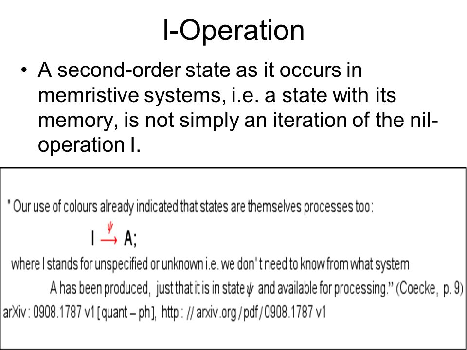 I-Operation A second-order state as it occurs in memristive systems, i.e.