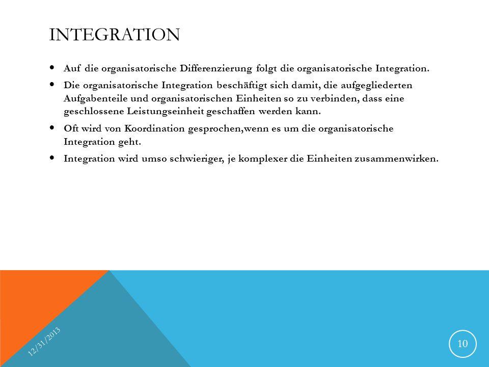 Integration Auf die organisatorische Differenzierung folgt die organisatorische Integration.