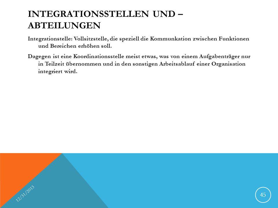 Integrationsstellen und –abteilungen